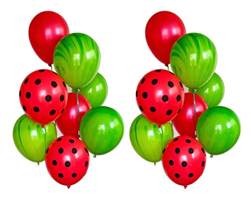 (Red Watermelon Party Balloons - 16 Ct Latex One in a Melon Ladybug Birthday)