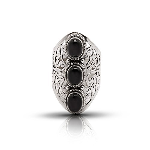 Black Onyx 3 Stones Lace Ring 925 Sterling Silver Vintage Tribal Gipsy Boho Look US Size 6 7 8 9 10 (6) (3 Stone Onyx Ring)