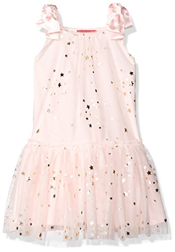 Kate Mack Big Girls' Fairy Dance Netting Dress with Gold Foil Stars, Pink, 8