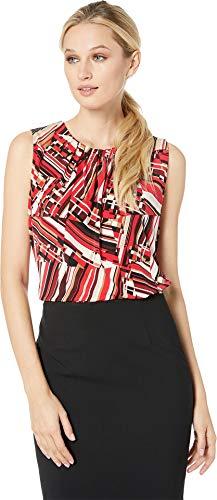 Calvin Klein Women's Printed Pleat Neck Cami Red Multi Small