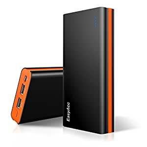 EasyAcc Classic 15000mAh External Battery Pack Brilliant High Capacity Power Bank Portable Charger for iPhone Samsung S6 Edge Smartphones Tablets - Black and Orange