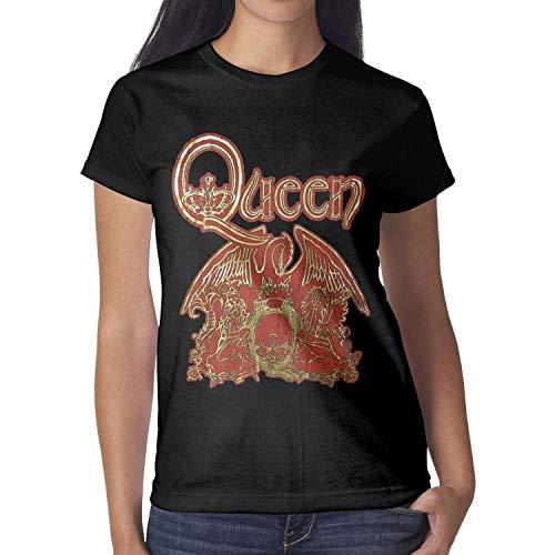 KINKIN Women Queen-Gold-Foil-Black-Baby-Doll- Black Short Sleeved Cotton Tee -