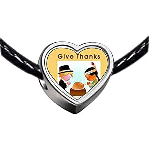 Chicforest Silver Plated Thanksgiving give thanks boy and girl turkey Photo Heart Charm Beads Fits Pandora Charm