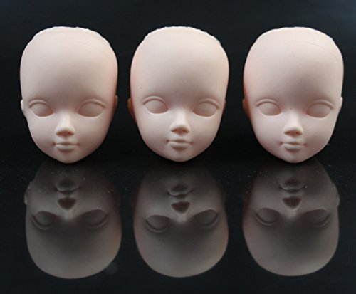 CHENGYIDA 3-PACK Mini Cosmetology Mannequin Heads ,Doll Head Parts Repair ,Practice Makeup,1/6 Bjd Dollfie Female Doll Figure Option Head