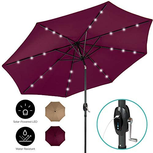 Best Choice Products 10ft Solar LED Market Patio Umbrella w USB Charger, Detachable Portable Power Bank, Weather-Resistant Canopy, Easy Crank, Tilt Adjustment – Burgundy