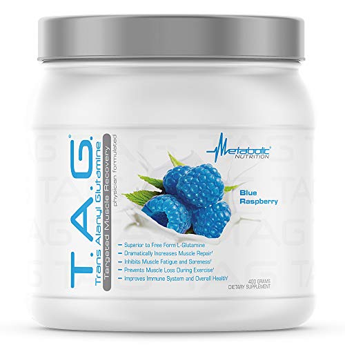 Metabolic Nutrition, TAG, Trans Alanyl Glutamine, 100% L-Glutamine Peptide Powder, Pre Intra Post Workout Supplement, Blue Raspberry, 400 Grams (40 Servings)
