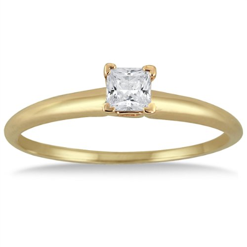 1/10 Carat Princess Diamond Solitaire Ring in 14K Yellow Gold