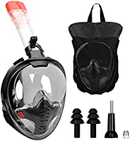 QKURT Full Face Snorkel Mask for Adult, 180 Degree Panoramic View Snorkeling Mask Set with Safety Free-Breathi