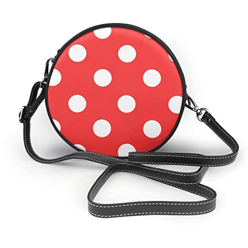 (Women's Round PU Leather Crossbody Messenger Shoulder Handbag Red And White Polka Dot Circle Tote Hobo Bag For Women)