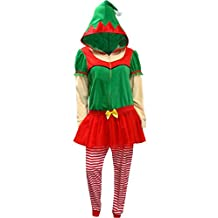 Ladies Christmas Elf One Piece Hooded Skirted Union Suit Pajama for women