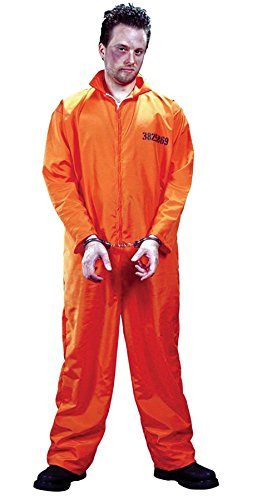 (Fun World Men's Prison Orange Jumpsuit Party Costume,)