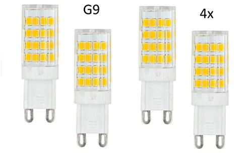 4 x felux® G9 LED SMD bombilla 5 W AC 220 - 240 V Blanco Frío 6000 K de 6500 K 51 x 2835 SMD, ángulo de emisión de 360º [Clase energética A]: Amazon.es: ...