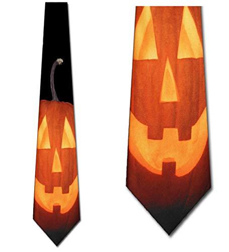 Happy Pumpkin Tie Halloween Ties Jack-O-Lantern mens Necktie by Three Rooker -