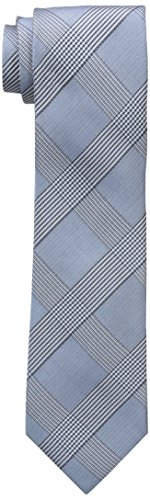Tie Blue Tonal Silk (Calvin Klein Men's Tonal Glenn Plaid Tie, Aqua, One Size)