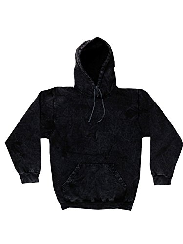 Mineral Wash Black Hoodie S-3XL Long Sleeve Pockets No Zipper Colortone Co (Small)