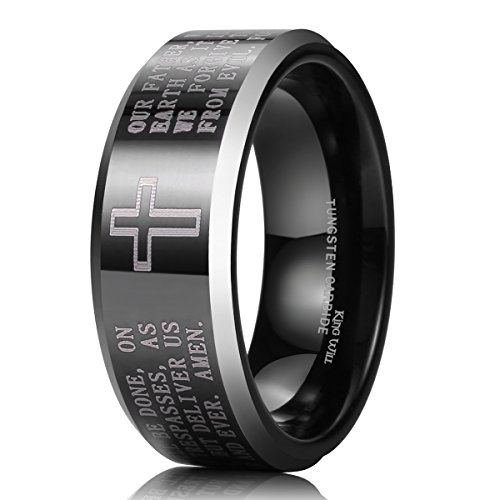 King Will CLASSIC Men's Black Tungsten Carbide 8mm Lords Prayer Polished Finish Wedding Band Ring 10