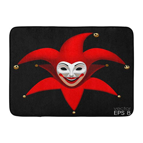 Emvency Bath Mat Actor Jester Three Dimensional Smiling Joker Head in Red Cap White Mask Black Clown Buffoon Bathroom Decor Rug 16