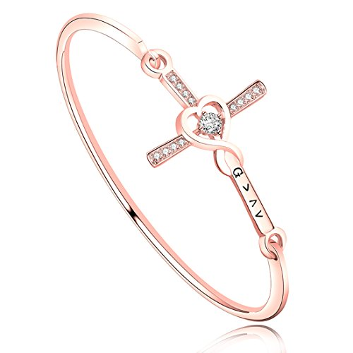 Zuo Bao Christian Cross Bracelet God is Greater Than The Highs and Lows Bangle Bracelet Crystal Cross Beacelet Inspirational Religious Gift (Rose Gold)