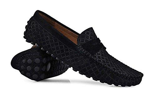 Tda Heren Streep Multi Color Hot Suede Mocassin Loafers Bootschoenen Style2 Zwart