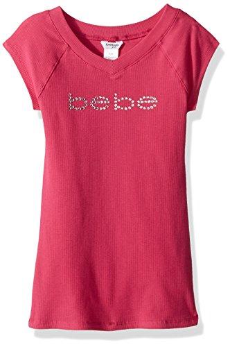 bebe Girls' Big REPLEN Logo TOP, Fuchsia, Extra Large ()
