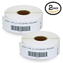 """2 Rolls DYMO 30252 Compatible 1-1/8"""" x 3-1/2""""(28mm x 89mm)Self-Adhesive Address Labels,Compatible With Dymo 450, 450 Turbo, 4XL And Many More"""