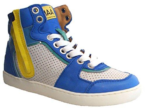MAA ® High Top Sneaker UNISEX weiss blau Reißverschluss