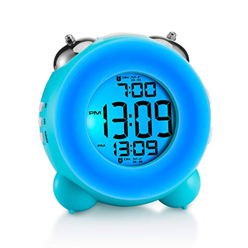 Shininy Double Bell Digital Alarm Clock, LCD Night Light Clock Battery Operated, Snooze Desk Table Clock for Kids Heavy Sleepers Bedrooms (Blue)