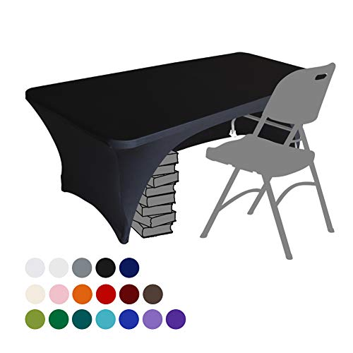 Eurmax Spandex Table Cover 6 ft. Fitted 30+ Colors Polyester Tablecloth Stretch Spandex Table Cover-Table Toppers,6 FT Table Cover Open Back(Black) (Covers Custom Made Table)