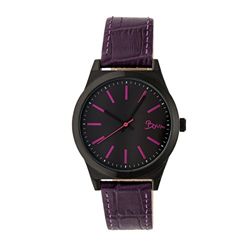 Boum Energie Quartz Plum Genuine Leather Black Women's Watch (Women Watches Boum)