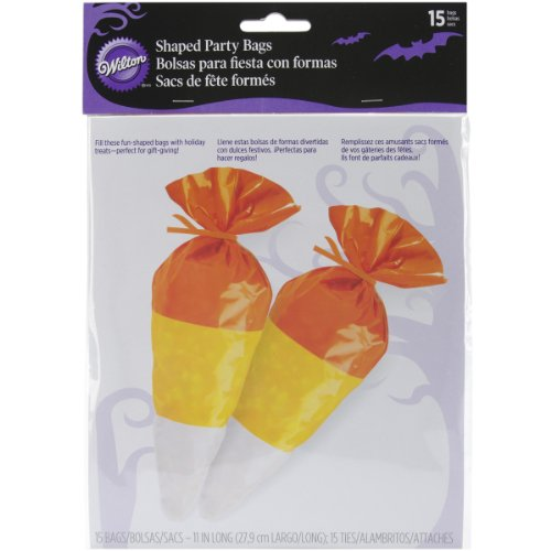 Wilton 1912-0030 Halloween Candy Corn Shaped Bag, 15 Count -