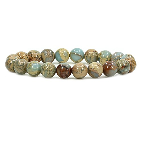 Amandastone Natural Serpentine 10mm Round Beads Stretch Bracelet 7