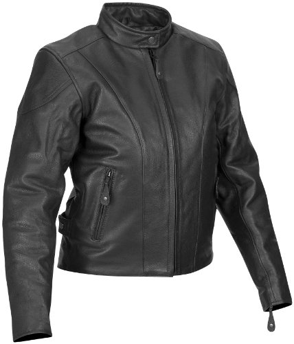 River Road Motorcycle Accessories - River Road Womens Race Vented Leather Motorcycle Jacket Black Extra Large XL