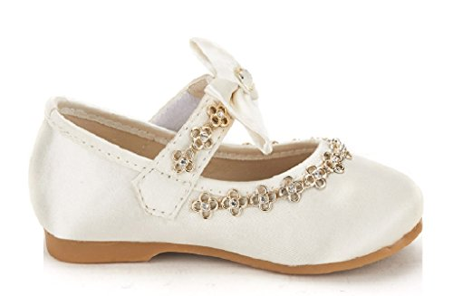 Dream Pairs SOPHIA-55 Adorables Casual Mary Jane Front Bow Velcro Strap Ballerina Flat Toddler New IVORY SIZE 7