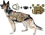 TCS Dog Tactical Harness (M) - 1000D Nylon Molle Vest Includes Leash | 3 Pouches | 3 Patches | Collapsible BPA Free Bowl