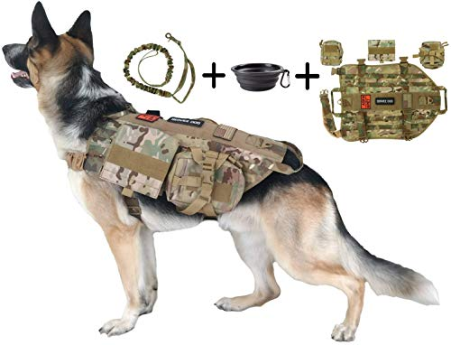 Tri Cloud Sports Dog Tactical Harness - 1000D nylon Vest - Includes 3 Pouches, Leash, 3 patches, and Collapsible BPA Free Bowl (L)