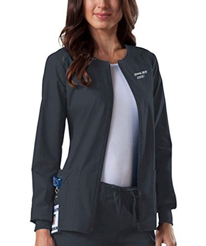 Embroidered Cherokee Women's Workwear Scrubs Core Stretch Zip Front Warm-Up Jacket (Style 4315, Pewter, XL) (Scrub Zip Jacket Front)