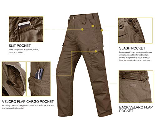 HARD LAND Men's Waterproof Tactical Pants Ripstop Cargo Work Pants with Elastic Waist for Hunting Fishing Hiking Size 38×30 Coyote Brown by HARD LAND (Image #6)