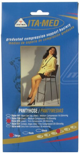 ITA-MED Sheer Pantyhose, Compression (23-30 mmHg) Beige, XTall