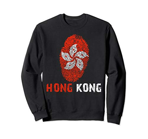 HONG KONG Finger Print Flag Tshirt I Love Travel Tee Sweatshirt