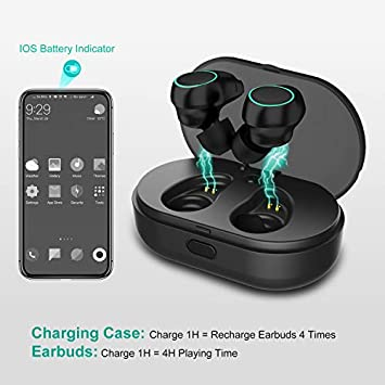 Wireless Bluetooth Earbuds, Arbily Noise Cancelling Earbuds with Microphone IPX7 Waterproof Cordless Headphones with Charging Case, v5.0 Bluetooth Wireless Earbuds for Running
