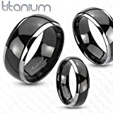 Solid Titanium Mirror Polished Black Ion Plated Silver Edged Band Ring; Comes with Free Gift Box (9) Picture