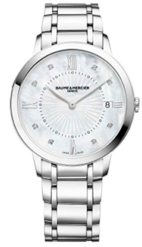 Baume-Mercier-Classima-Mother-of-Pearl-Face-Diamond-36MM-Date-Stainless-Steel-Womens-Swiss-Watch-10225