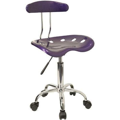 Vibrant Violet and Chrome Task Chair with Tractor Seat
