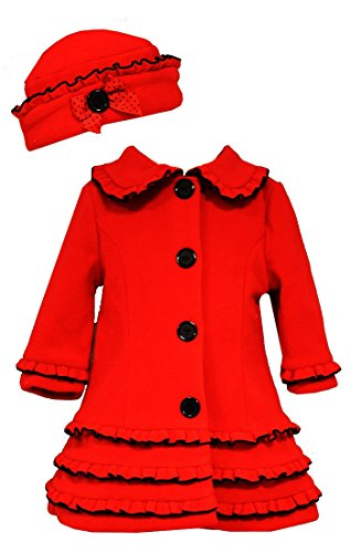 Bonnie Jean Little Girls Vest A-Line Holiday Fleece Coat & Hat, Red, (Bonnie Jean Coat)
