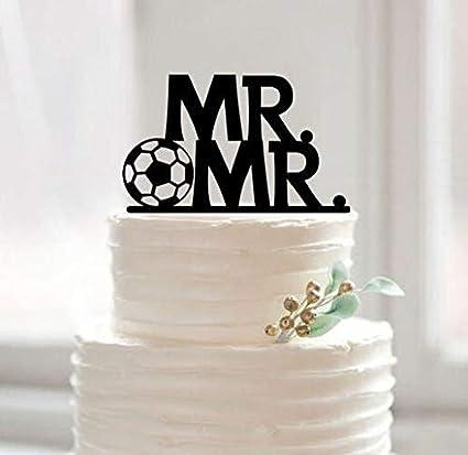 Amazon Com Same Sex Cake Topper With Football Gay Wedding Acrylic