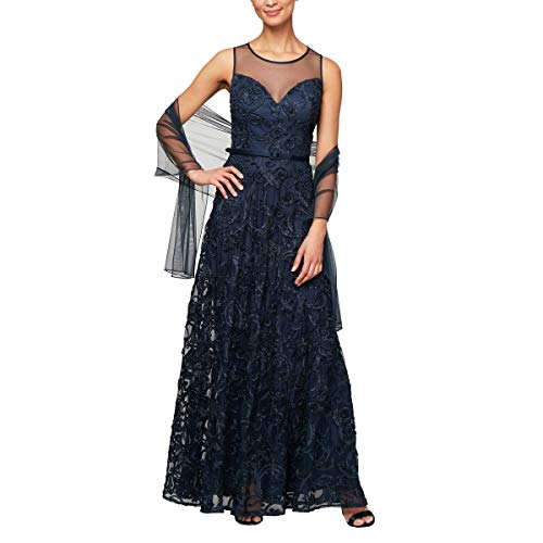 Alex Evenings Women's Cap Sleeve Embroidered Gown Dress (Petite and Regular Sizes), Navy, 12P