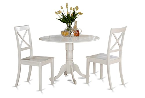 This 3 Piece Dining Set Includes 2 Linen White Chairs and 1 Round Elegant Drop Leaf Pedestal Table. A Dinette Set Perfect for a Breakfast Nook in Any Traditional or Country Style Home.