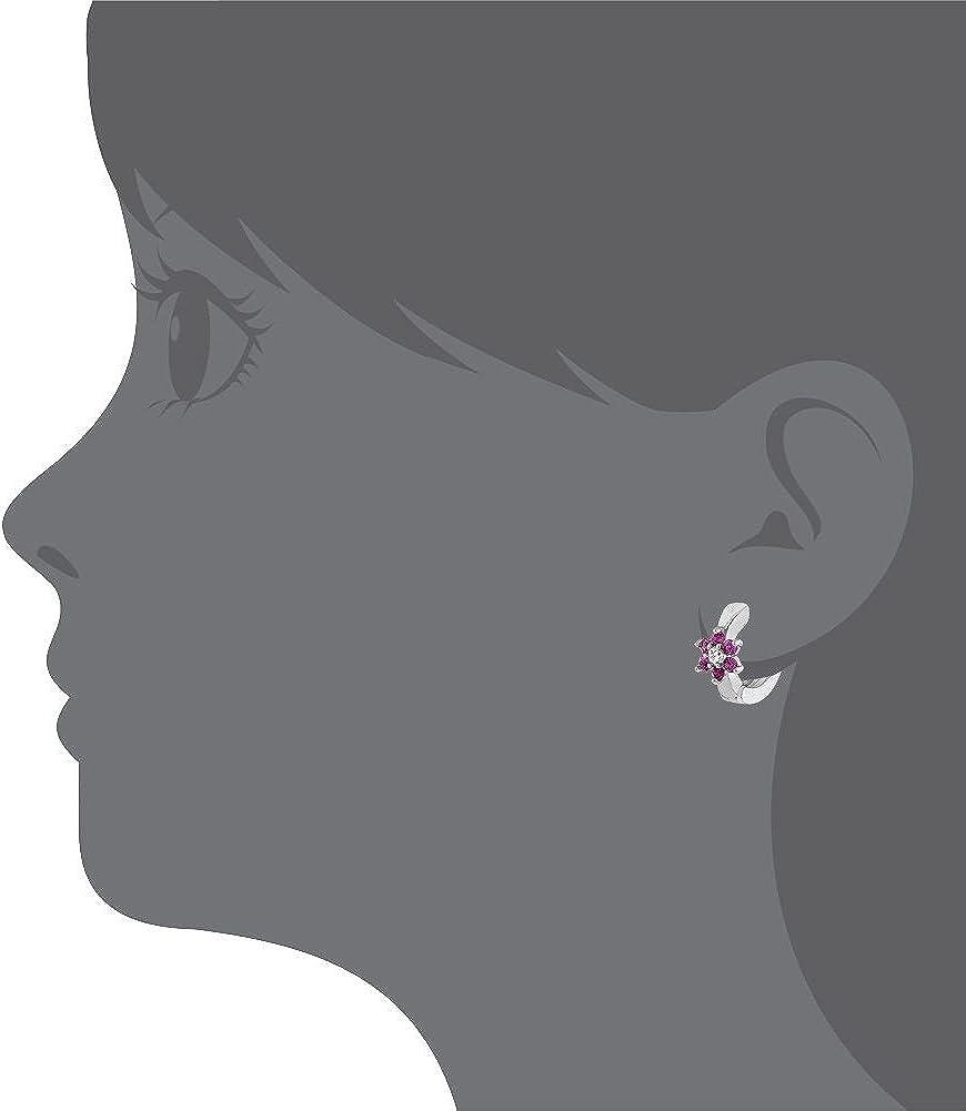 Plaqu/é Rhodium Filles In Season Jewelry Petit Anneau Immense Rose chaud Cristal Fleur Boucles d/'oreilles