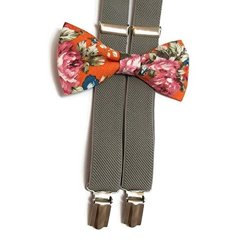 c3c3fc048a05 Amazon.com: ORANGE floral bow tie pink roses pattern and GRAY elastic  Y-back Suspenders Set for boys men groomsmen: Handmade