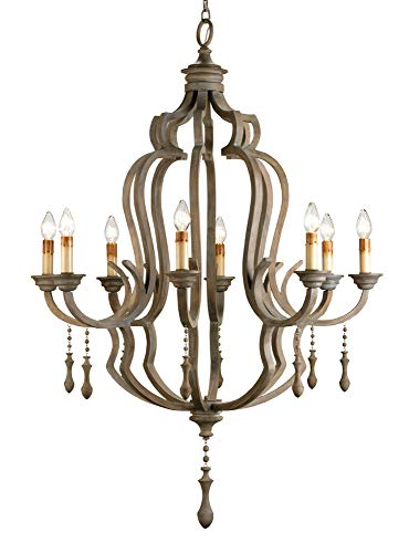 Currey and Company 9010 Waterloo - Eight Light Chandelier, Washed Gray Finish with Shade Option